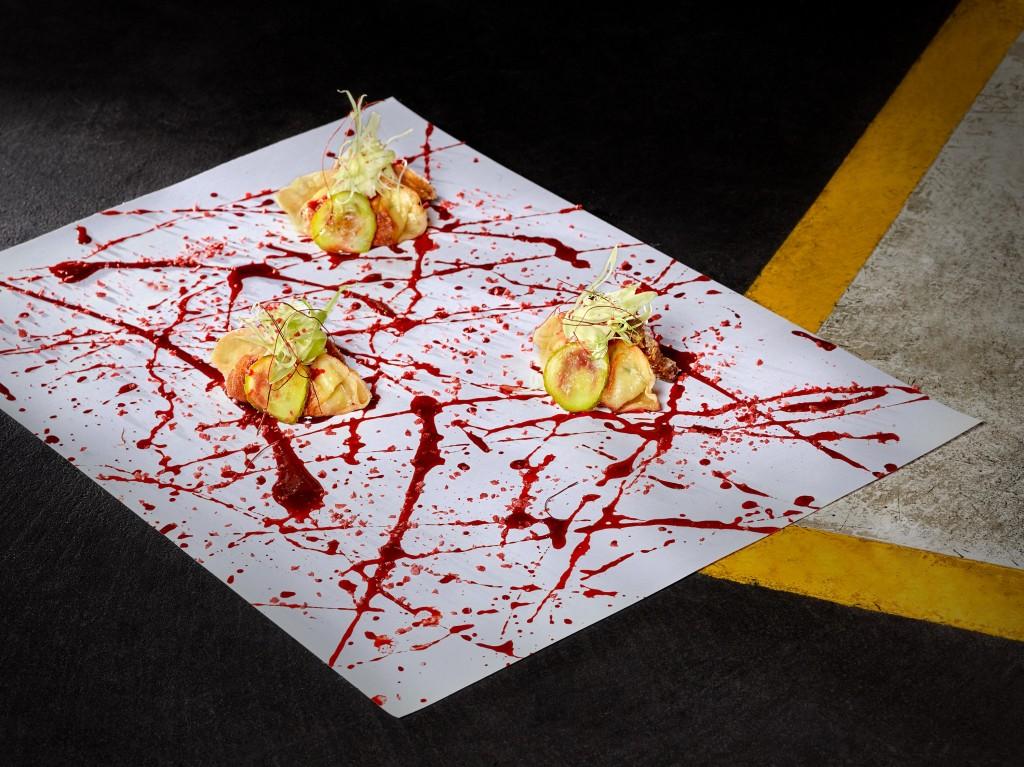 Pekinese dumpling, crunchy pig's ear and strawberry hoi sin, aioli and gherkins MR